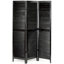 "72"" x 55"" Shutter Accordion 3 Panel Room Divider"