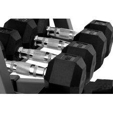 10 - 35 lbs Rubber Coated Hex Dumbbell Set