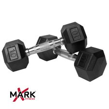 Pair of 10 lb. Rubber Hex Dumbbells