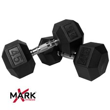 Pair of 45 lb. Rubber Hex Dumbbells