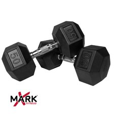 Pair of 50 lb. Rubber Hex Dumbbells