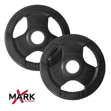Pair of 10 lb. Rubber Coated Tri-grip Olympic Plate Weights