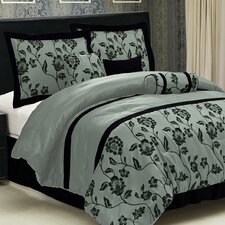 Flocking 7 Piece Comforter Set