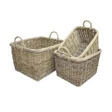Rattan Log Basket in Grey 3 Piece Set