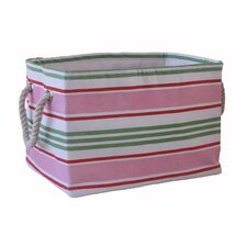 Small Rectangular Soft Storage in Pink Stripe