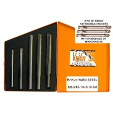 "5 Piece Carbide Tip Bit Set with 3 Pack of 1/8"" Double End Bits"