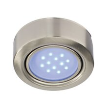 Mimi Blue LED Round Under Cabinet Light in Satin Nickel (Set of 2)