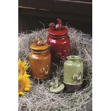 3 Piece Casual Country Stoneware Pots with Lid