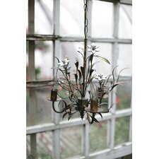 Chateau 3 Light Mini Chandelier with Ceramic Flowers