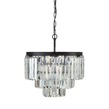 Uptown Iron Frame with Crystals 9-Light Chandelier