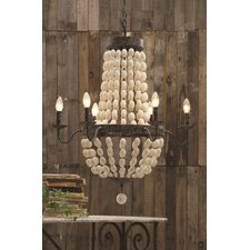 Chateau Iron Frame with Wood Beads 6-Light Chandelier