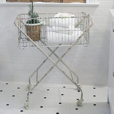 <strong>Creative Co-Op</strong> The Painted Porch Metal Basket with Wheels