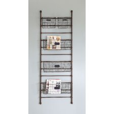 Inspired Home Metal Leaning Shelf with 5 Bins