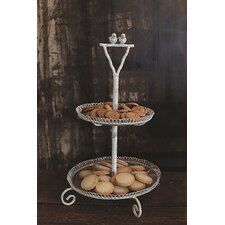 <strong>Creative Co-Op</strong> Metal and Glass 2-Tier Tray