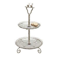 Metal and Glass 2-Tier Tray