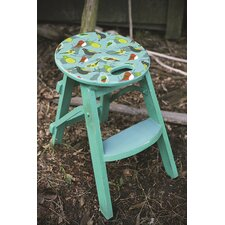 Wood Folding Stool with Bird Print Top