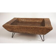Hand Carved Mango Wood Tray with Metal Legs