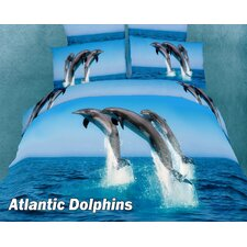 <strong>Dolce Mela</strong> Atlantic Dolphins Egyptian Cotton Duvet Cover set