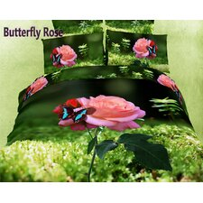 <strong>Dolce Mela</strong> Dolce Mela Butterfly Rose 6 Piece Duvet Cover Set