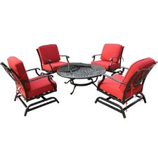 Bordeaux 5 Piece Chat Set with Fire Table