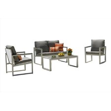 Positano 4 Piece Lounge Seating Group with Cushion
