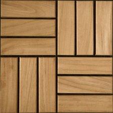 """Teak 12"""" x 12"""" Interlocking Parquet Deck Tiles"""