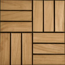 "Teak 12"" x 12"" Interlocking Parquet Deck Tiles"