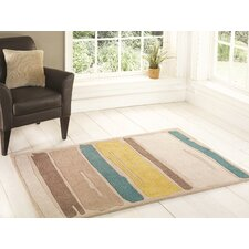 Infinite Mod Art Teal / Yellow Tufted Rug