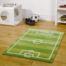 Kiddy Play Football Pitch Green Children's Rug
