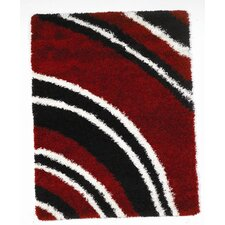 Nordic Black/Red Crescent Shag Rug
