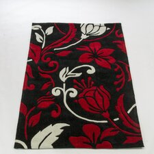 Infinite Damask Red / Cream Contemporary Rug