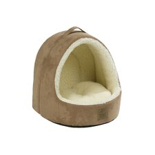Hooded Suede / Sheepskin Cat Bed in Tan
