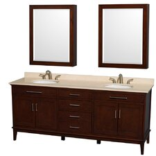 "<strong>Wyndham Collection</strong> Hatton 80"" Double Bathroom Vanity Set"