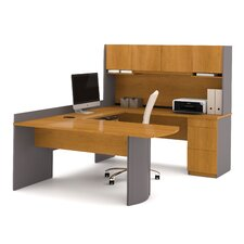 U-Shape Computer Desk with Hutch