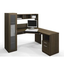 Jazz Corner Computer Desk with Hutch and Cabinet