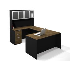 <strong>Bestar</strong> Pro-Concept U-Shaped Workstation With High Hutch In Milk Chocolate Bamboo & Black