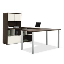 Contempo U-Shaped Writing Desk with Storage Hutch