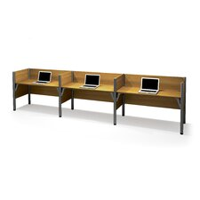 Pro-Biz Triple Side-by-Side Workstation With 3 Melamine Privacy Panels (Per Workstation)