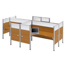 Pro-Biz Four L-Desk Workstation With 4 Melamine Privacy Panels & 4 Acrylic Glass Privacy Panels