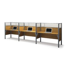Pro-Biz Triple Side-by-Side Workstation With 3 Melamine Privacy Panels & 3 Acrylic Glass Privacy Panels (Per Workstation)