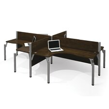 Pro-Biz Four L-Desk Workstation with 4 Privacy Panels
