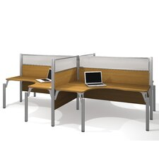 <strong>Bestar</strong> Pro-Biz Four L-Desk Workstation With 4 Melamine Privacy Panels & 4 Acrylic Glass Privacy Panels