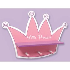 Pink Star Princess Tiara Shelf with 3 Peg Hooks