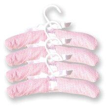 Gingham Seersucker Four Piece Padded Hangers in Pink (Set of 4)