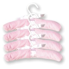Gingham Seersucker Four Piece Padded Hangers in Pink