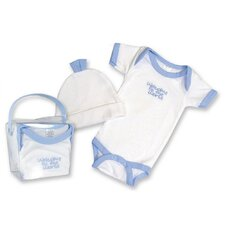 "Good Fortune Two Piece ""Welcome to the World"" Newborn Gift Set in Blue"