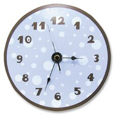 Polka Dots Wall Clock in Blue and Brown
