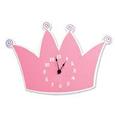 Pink Star Princess Tiara Wall Clock
