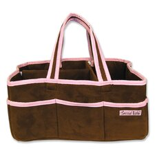 Storage or Diaper Caddy in Brown and Pink