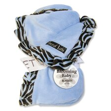 Zebra Ruffle Receiving Blanket in Blue